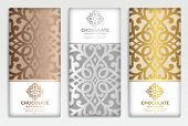 Luxury Golden Packaging Design Of Chocolate Bars. Vintage Vector Ornament Template. Elegant, Classic poster
