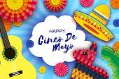 Happy Cinco De Mayo Greeting Card. Paper Fan, Funny Pinata, Guitar, Cactus In Paper Cut Style. Origa poster