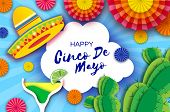Happy Cinco De Mayo Greeting Card. Paper Fan, Funny Pinata, Cocktail Margarita, Cactus In Paper Cut  poster