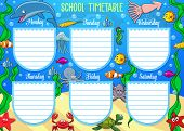 Schedule On Whole Week With Underwater Cartoon Animals. Vector School Timetable With Dolphins And St poster