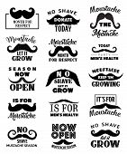 Movemeber Mustaches Icons. Vector Men Health And Prostate Cancer Awareness Symbol, Keep Mustache Gro poster