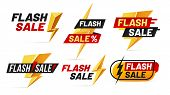 Flash Sale. Mega Sales Lightning Badges, Best Deal Lightnings Poster And Buy Only Today Offer Badge  poster
