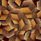 3d Cubes Seamless Pattern. Vector Geometric Modern Surface Background. Repeat Flying Cubes Backdrop. poster