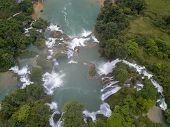 Aerial View Waterfall. Ban Gioc Waterfall Or Detian Waterfall Is A Collective Name For Two Waterfall poster