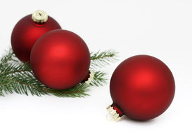 picture of christmas ornament  - photo of three matte red christmas balls and pine - JPG