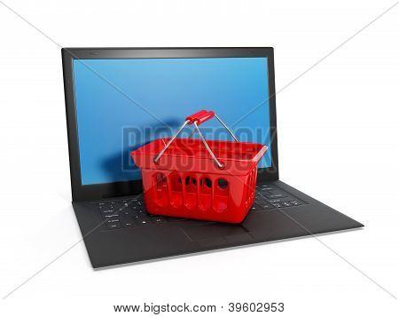 3D Abbildung: Einkauf über das Internet online. Laptop, den Einkaufskorb auf weißem Hintergrund