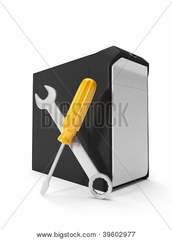 3D Illustration: Repair Of Computers And Electronics. System Unit And Tools On A White Background