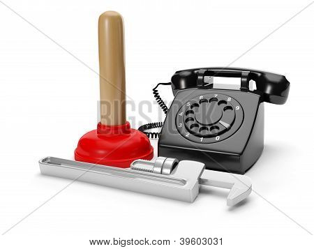 3D Illustration: Calling Plumbing Repair Service Order. Phone Plunger Wrench On A White Background