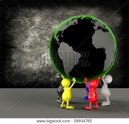 3D People Holding Earth Globe
