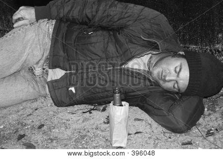 Homeless Man - Sleeping On Ground B&w