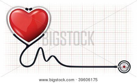 3D Heart Beat cardiograma estetoscopio Vector plantilla