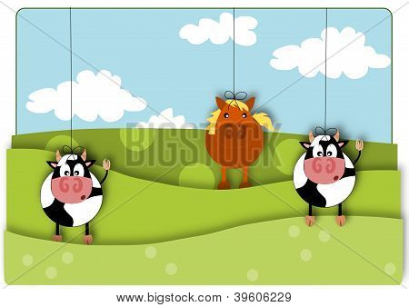 Animals marionette - rural view summer day.