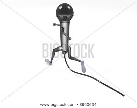 Back Pose Of Three Dimensional Running Microphone