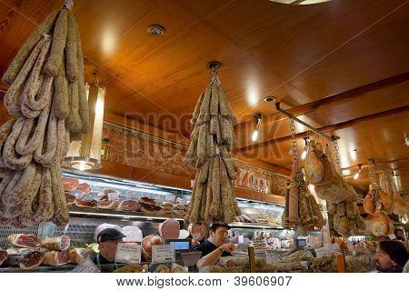 Local Delicacies In In Small Shop In Bologna, Italy