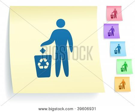 Recycle Trash Icon on Post It Note Paper Collection Original Illustration