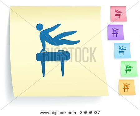 Pommel Horse Icon on Post It Note Paper Collection Original Illustration