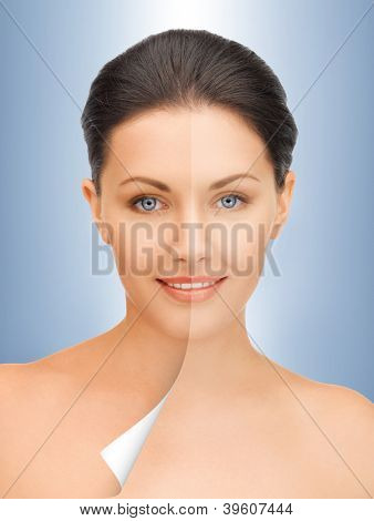 picture of beautiful woman with half face tanned