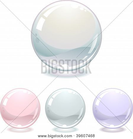 Pearls collection isolated on white. Vector illustration.