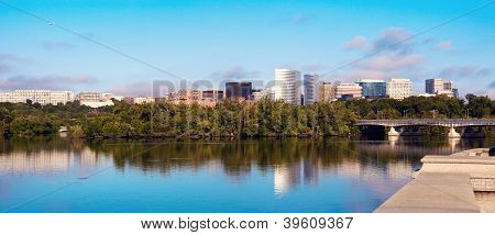 Downtown Of Arlington, Virginia And Potomac River