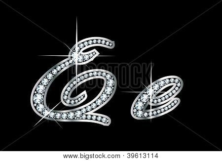 Script Diamond Bling Ee Letters