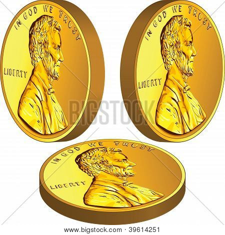 Vector Gold American Money Coin From Different Angles