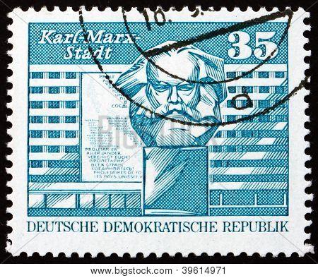 Postage stamp GDR 1973 Marx Monument, Karl-Marx-Stadt, Chemnitz