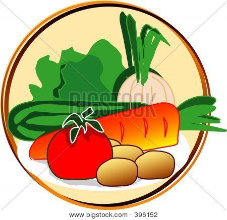Постер, плакат: Пиктограмма овощи, холст на подрамнике