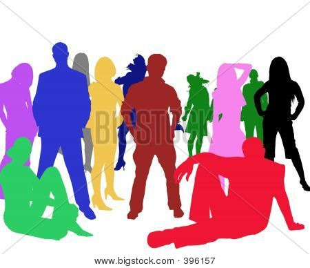Silhouettes Of A Group Of Young People
