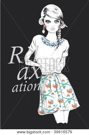 fashion teenage girl for apparel. vector illustration