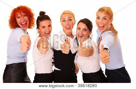 A picture of five happy successful businesswomen showing ok sign over white background
