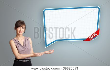 Beautiful young woman presenting modern speech bubble copy space