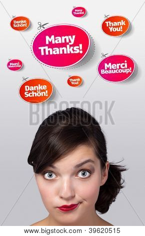 Young girl head looking at recreational signs
