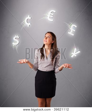 pretty young lady standing and juggling with currency icons
