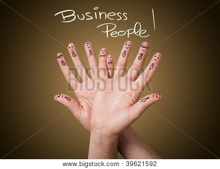 Happy group of business finger smileys