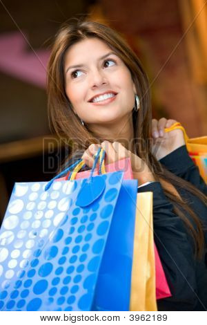 Woman Shopping Smiling