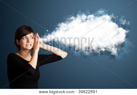 Young business woman with abstract cloud