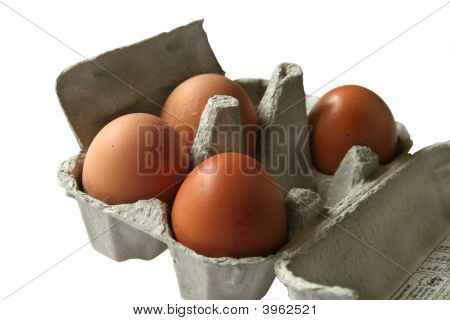 Brown Eggs In Eggbox