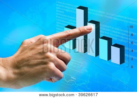 Female Hand Pointing At Financial Graphic.