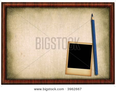 Wooden Frame Pencil And Photo