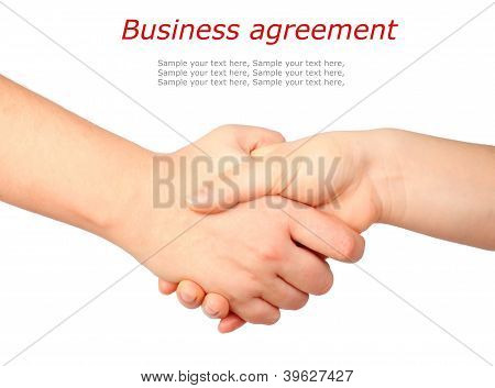 Hand-Symbol, Handshake & text