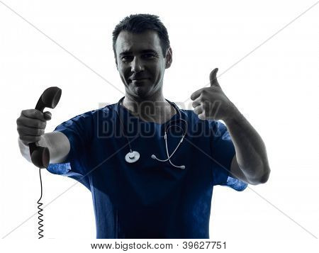 one caucasian man doctor surgeon medical worker  holding phone thumb up gesture silhouette isolated on white background