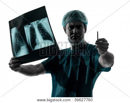 one caucasian man doctor surgeon radiologist medical worker silhouette isolated on white background