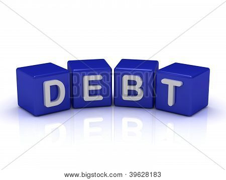 Debt Word On Blue Cubes
