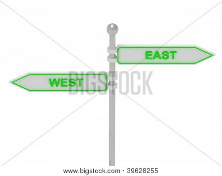 Signs With Green west and east