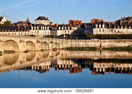 View on the old town of Blois and the River Loire