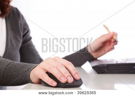Businesswoman Mouse Computer Pen Isolated