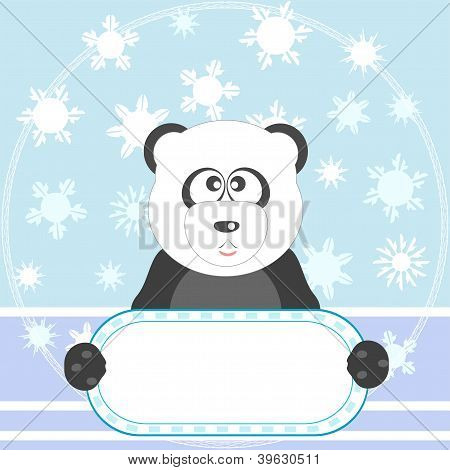 Cute Panda With White Blank On Winter Background