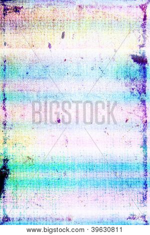 Elegant Vintage Border Frame: Abstract Textured Rainbow-style Background With Blue, Yellow, And Red