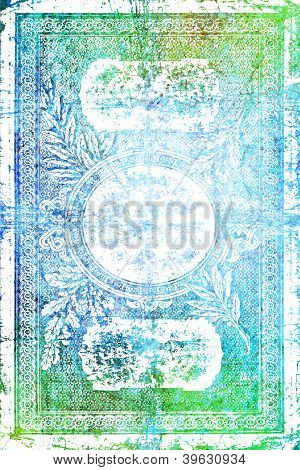 Elegant Vintage Banknote-style Border Frame: Abstract Textured Background With Blue, Green, And Whit