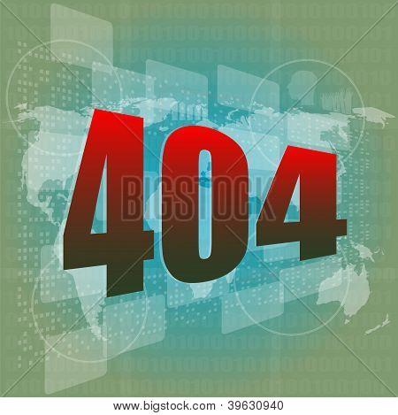 Internet Concept: Nuumber 404 On Digital Screen